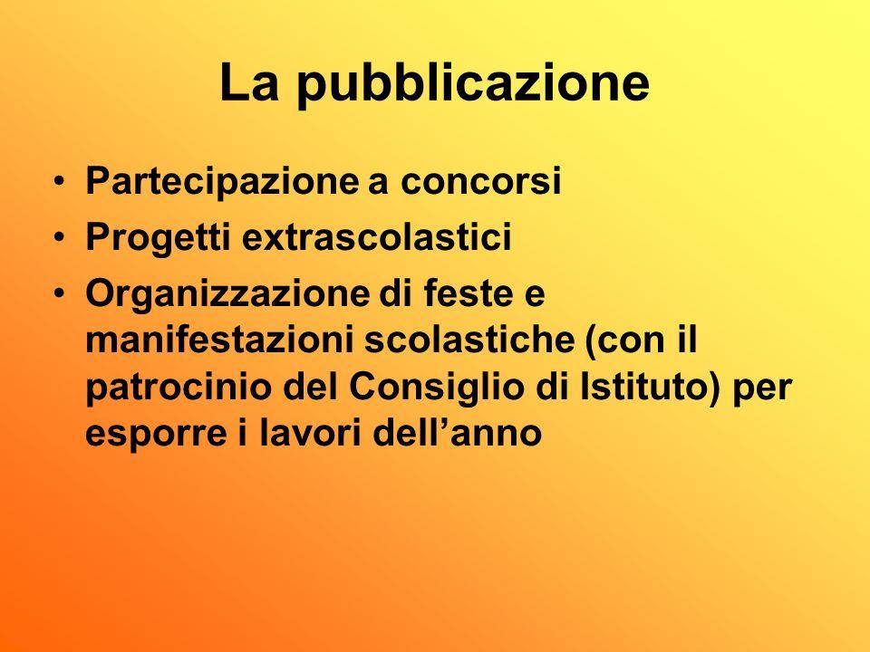 La pubblicazione Partecipazione a concorsi Progetti extrascolastici