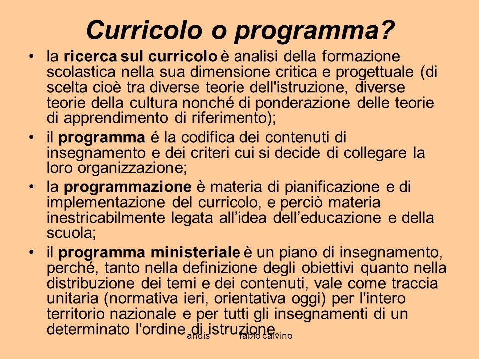 Curricolo o programma