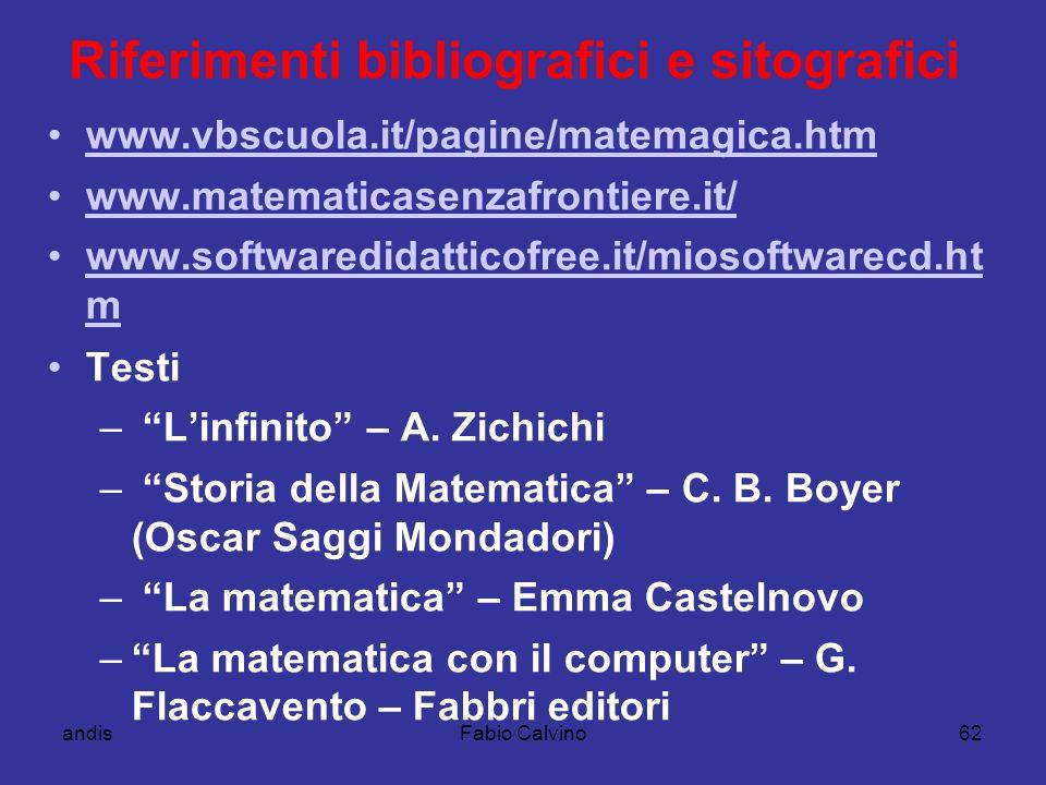 Riferimenti bibliografici e sitografici