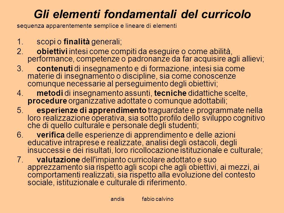 Gli elementi fondamentali del curricolo