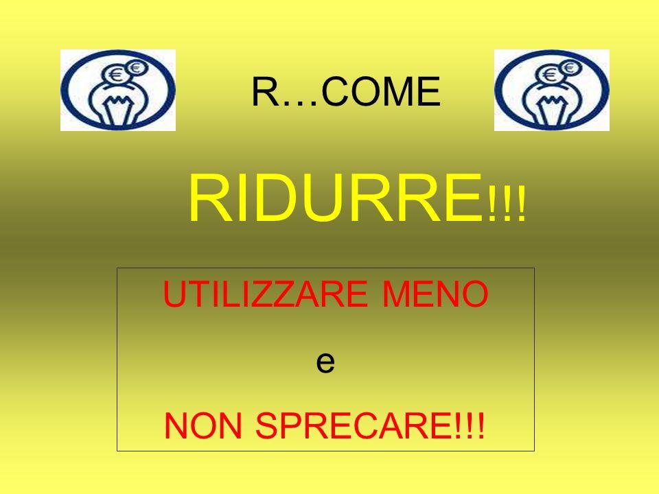 R…COME RIDURRE!!! UTILIZZARE MENO e NON SPRECARE!!!