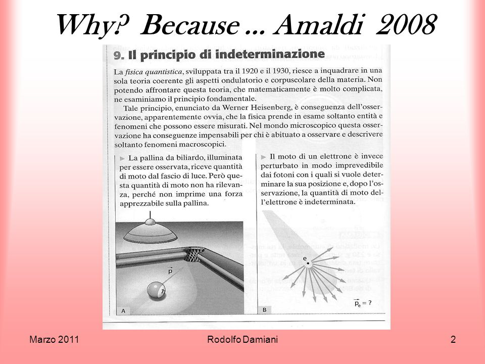 Why Because … Amaldi 2008 Marzo 2011 Rodolfo Damiani
