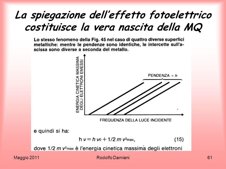 La spiegazione dell'effetto fotoelettrico costituisce la vera nascita della MQ