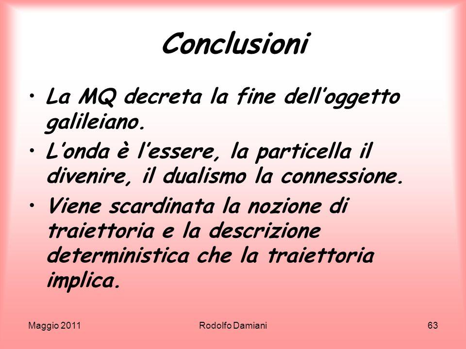 Conclusioni La MQ decreta la fine dell'oggetto galileiano.