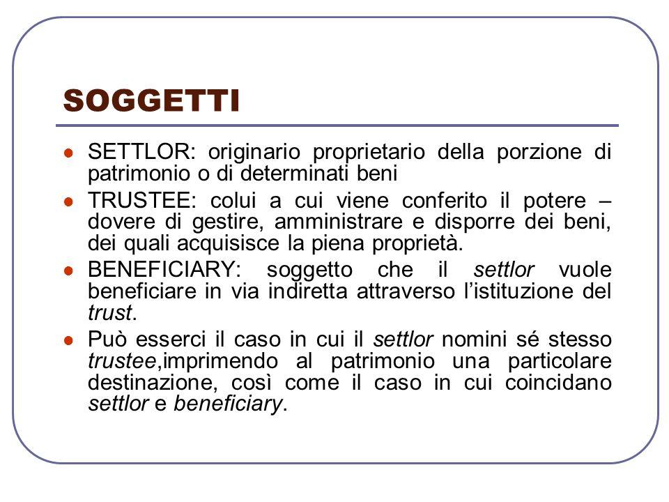 SOGGETTI SETTLOR: originario proprietario della porzione di patrimonio o di determinati beni.