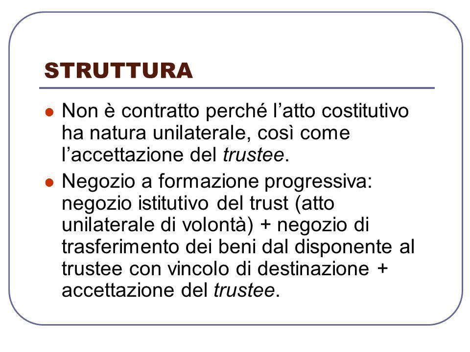 STRUTTURA Non è contratto perché l'atto costitutivo ha natura unilaterale, così come l'accettazione del trustee.