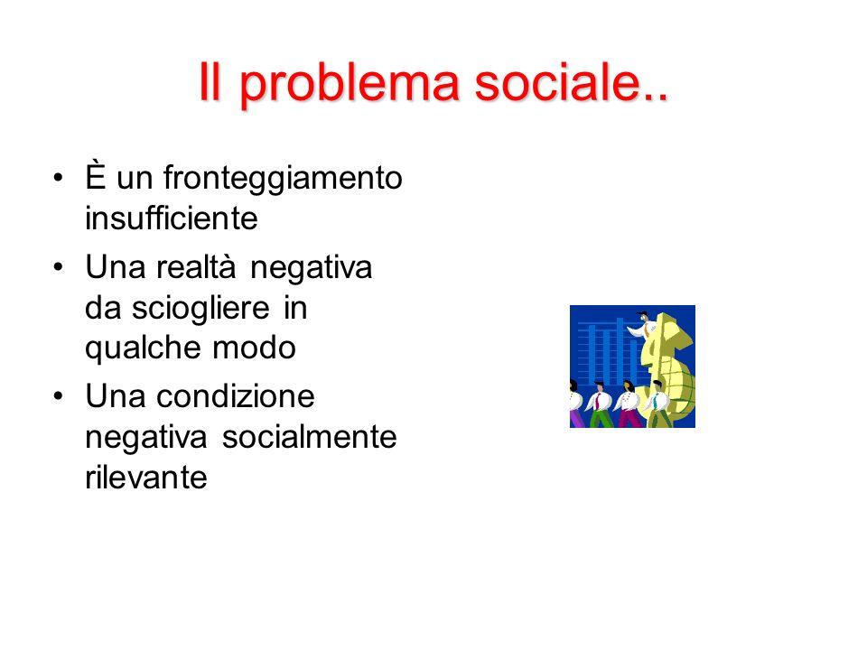 Il problema sociale.. È un fronteggiamento insufficiente