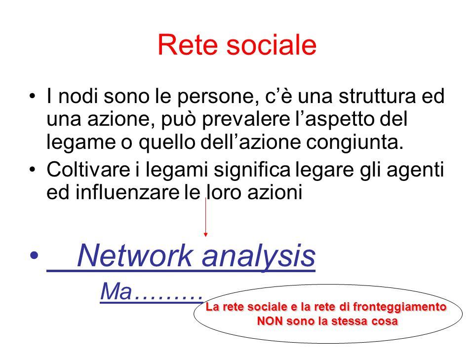 La rete sociale e la rete di fronteggiamento