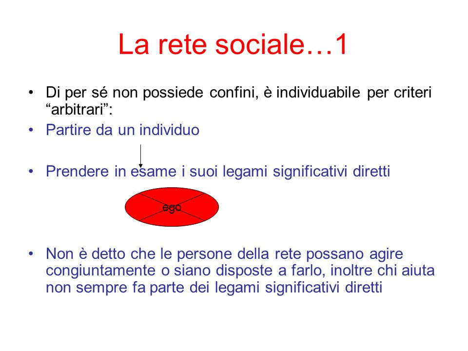 La rete sociale…1Di per sé non possiede confini, è individuabile per criteri arbitrari : Partire da un individuo.