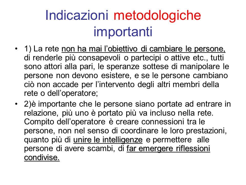 Indicazioni metodologiche importanti