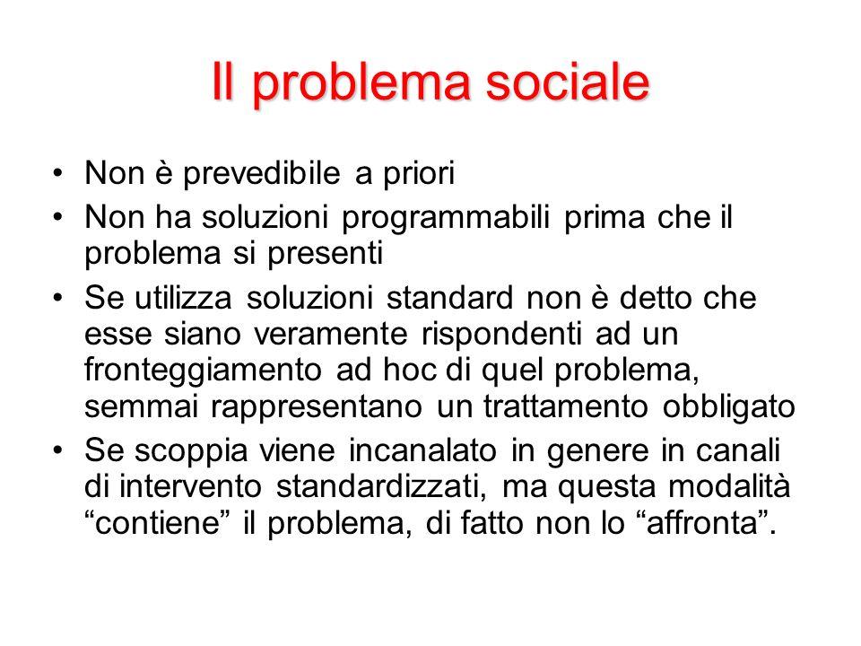 Il problema sociale Non è prevedibile a priori
