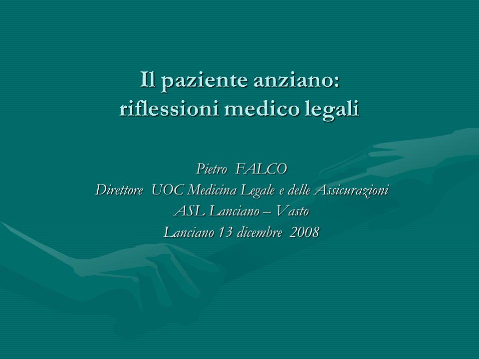 Il paziente anziano: riflessioni medico legali