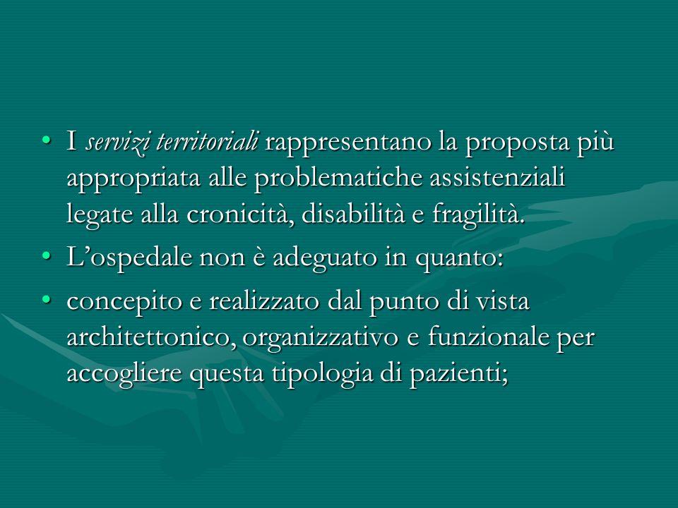 I servizi territoriali rappresentano la proposta più appropriata alle problematiche assistenziali legate alla cronicità, disabilità e fragilità.