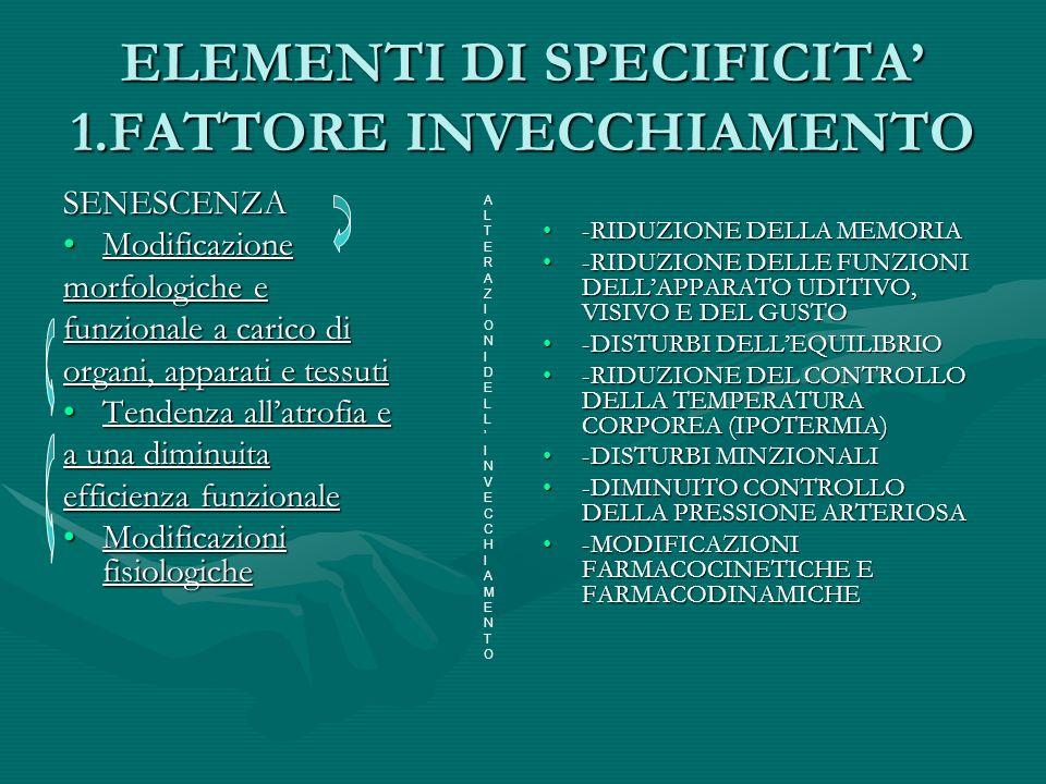 ELEMENTI DI SPECIFICITA' 1.FATTORE INVECCHIAMENTO