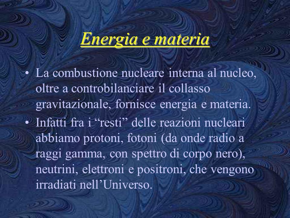 Energia e materia La combustione nucleare interna al nucleo, oltre a controbilanciare il collasso gravitazionale, fornisce energia e materia.