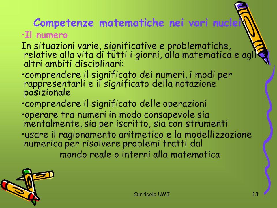Competenze matematiche nei vari nuclei:
