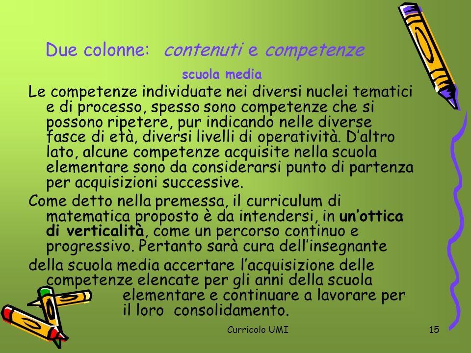 Due colonne: contenuti e competenze