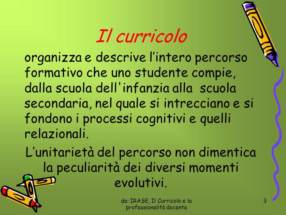 da: IRASE, Il Curricolo e la professionalità docente