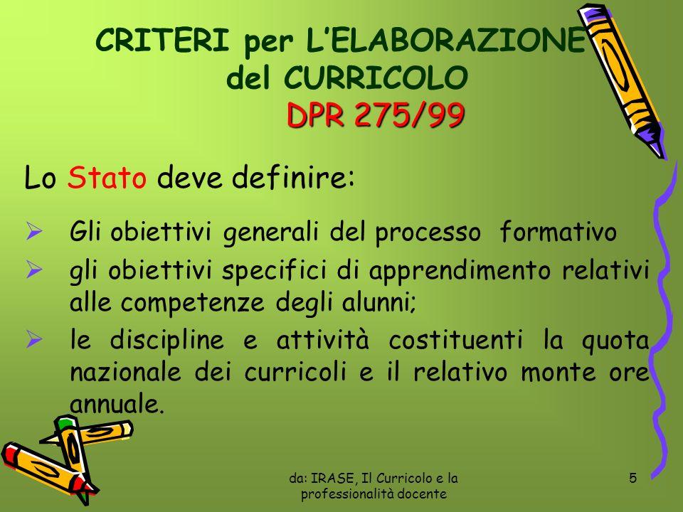CRITERI per L'ELABORAZIONE del CURRICOLO DPR 275/99