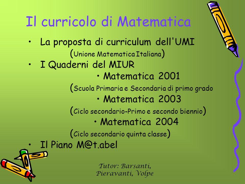 Il curricolo di Matematica