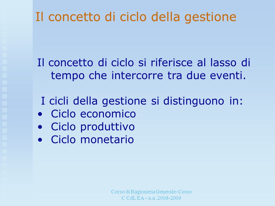 Corso di Ragioneria Generale- Corso C CdL EA - a.a. 2008-2009