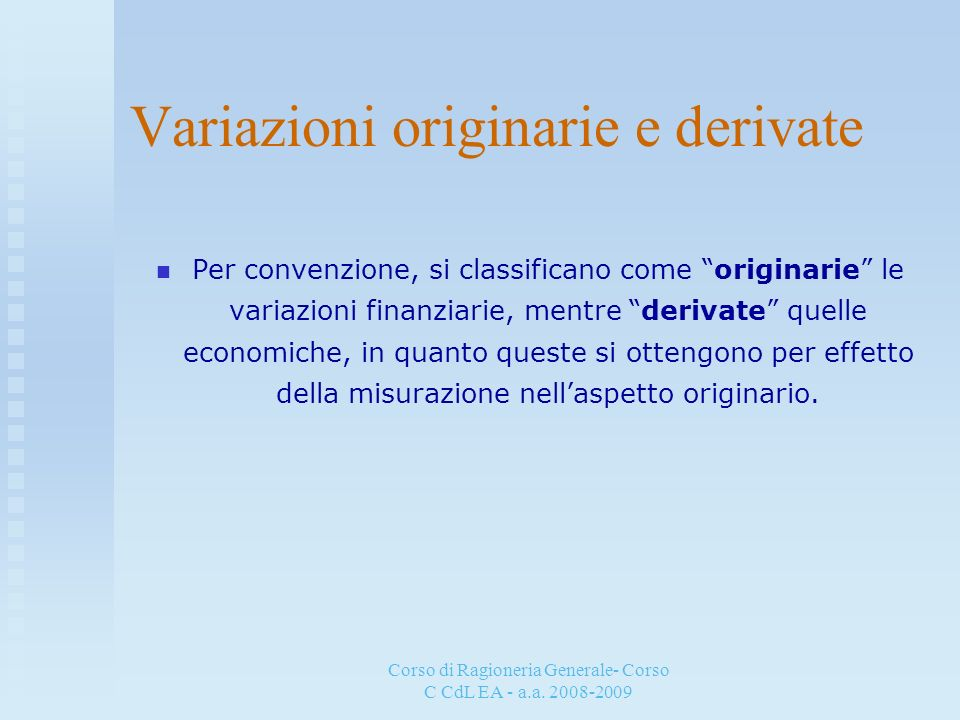 Variazioni originarie e derivate