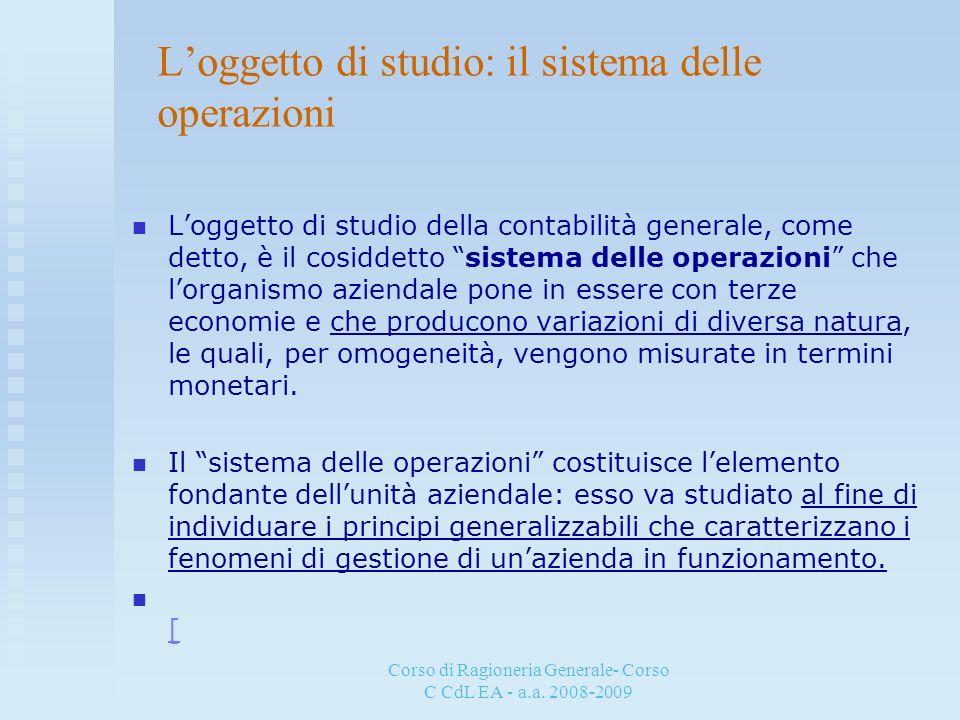 L'oggetto di studio: il sistema delle operazioni