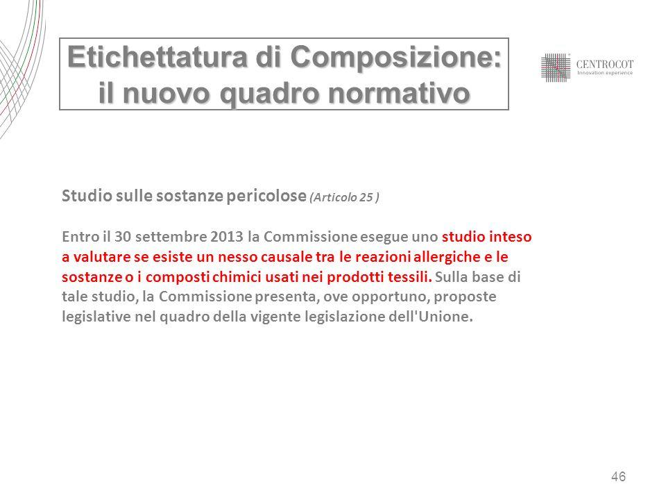 Etichettatura di Composizione: il nuovo quadro normativo