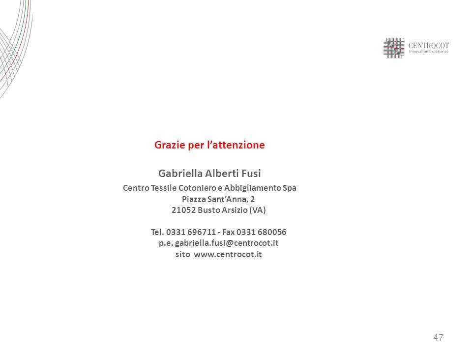 Grazie per l'attenzione Gabriella Alberti Fusi