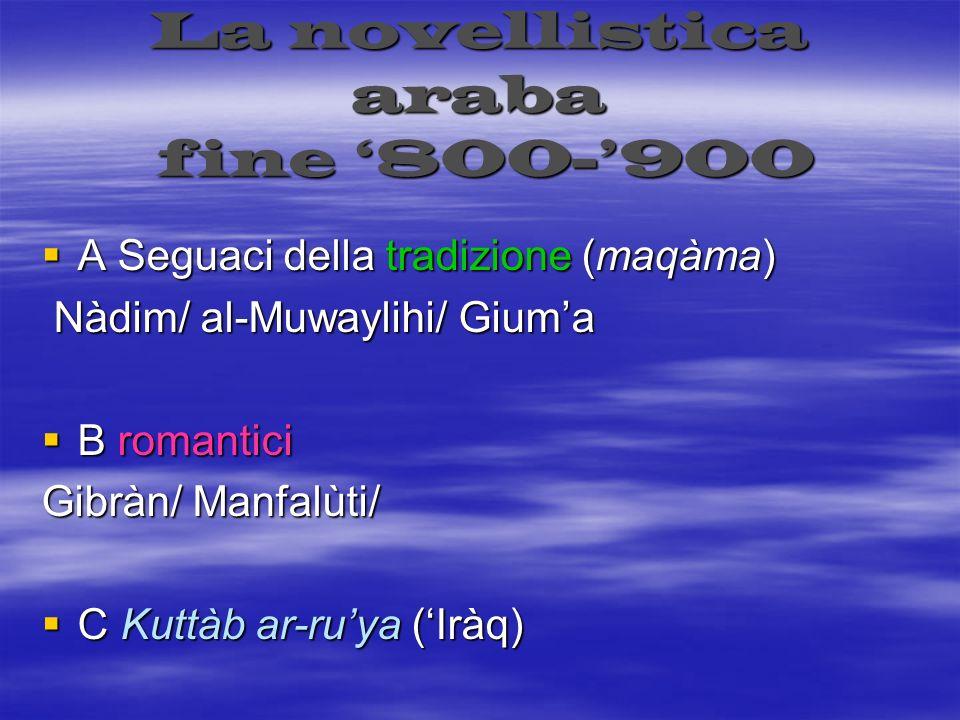 La novellistica araba fine '800-'900