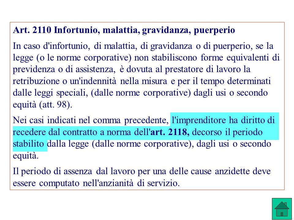 Art. 2110 Infortunio, malattia, gravidanza, puerperio