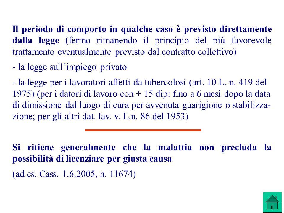 Il periodo di comporto in qualche caso è previsto direttamente dalla legge (fermo rimanendo il principio del più favorevole trattamento eventualmente previsto dal contratto collettivo)