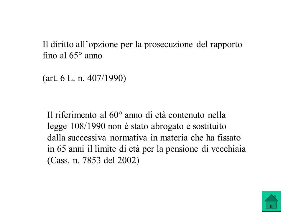 Il diritto all'opzione per la prosecuzione del rapporto fino al 65° anno