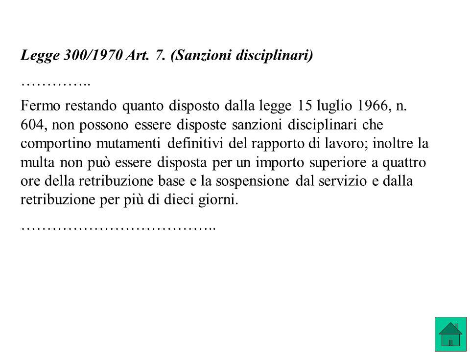 Legge 300/1970 Art. 7. (Sanzioni disciplinari)