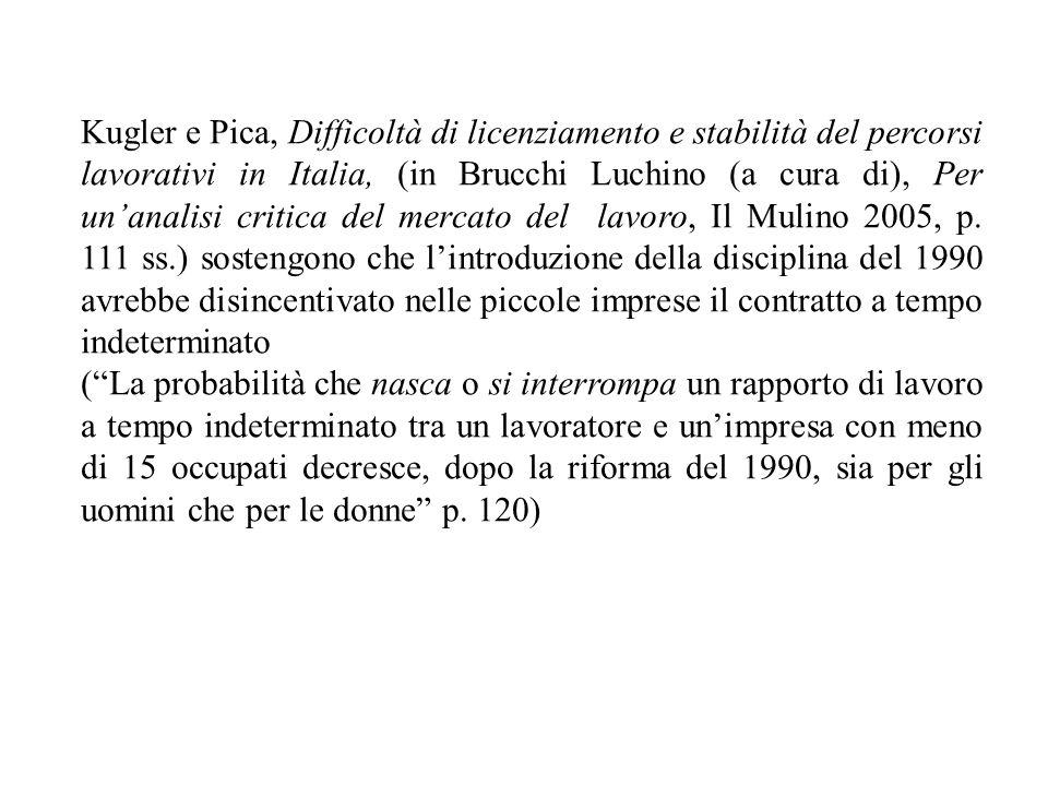 Kugler e Pica, Difficoltà di licenziamento e stabilità del percorsi lavorativi in Italia, (in Brucchi Luchino (a cura di), Per un'analisi critica del mercato del lavoro, Il Mulino 2005, p. 111 ss.) sostengono che l'introduzione della disciplina del 1990 avrebbe disincentivato nelle piccole imprese il contratto a tempo indeterminato