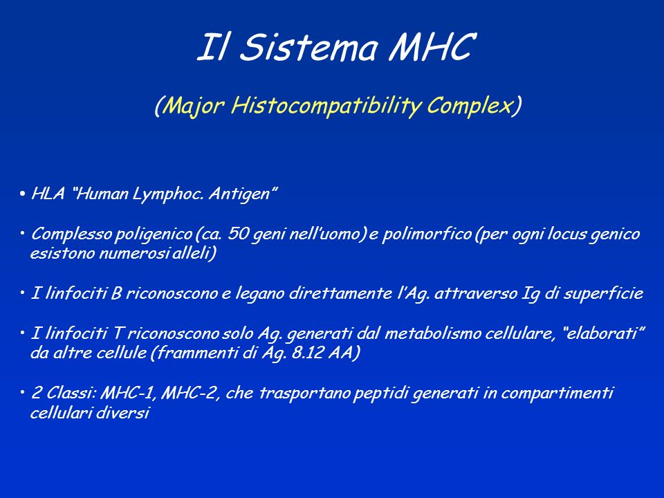 Il Sistema MHC (Major Histocompatibility Complex)