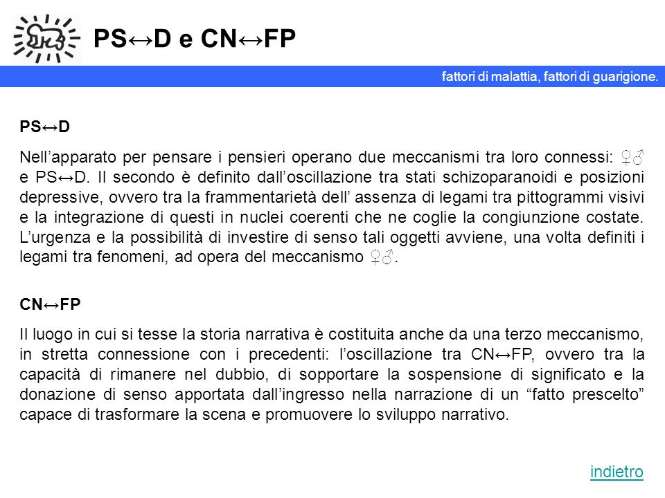 PS↔D e CN↔FP fattori di malattia, fattori di guarigione. PS↔D.