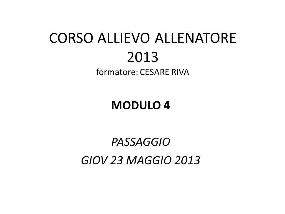 CORSO ALLIEVO ALLENATORE 2013 formatore: CESARE RIVA