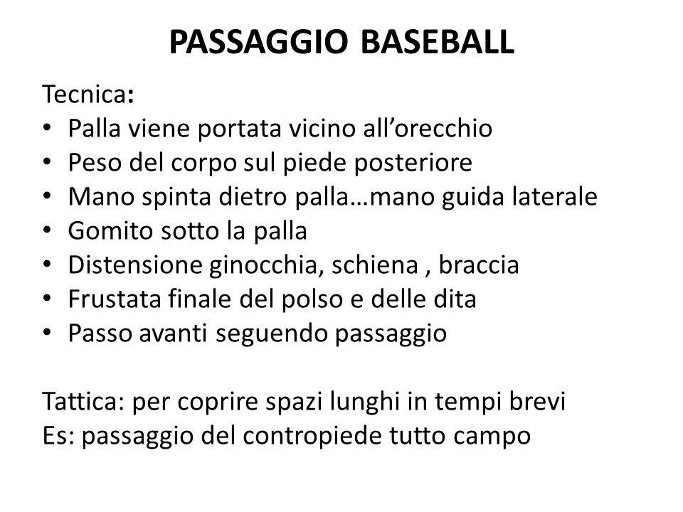 PASSAGGIO BASEBALL Tecnica: Palla viene portata vicino all'orecchio