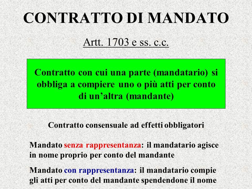 CONTRATTO DI MANDATO Artt. 1703 e ss. c.c.