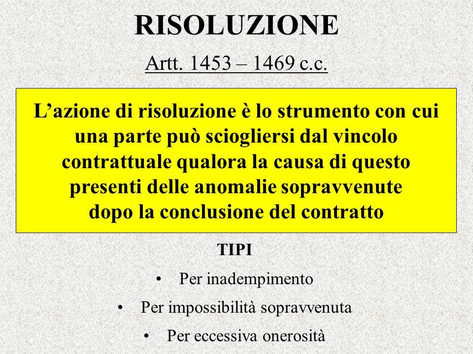 RISOLUZIONE Artt. 1453 – 1469 c.c. L'azione di risoluzione è lo strumento con cui. una parte può sciogliersi dal vincolo.