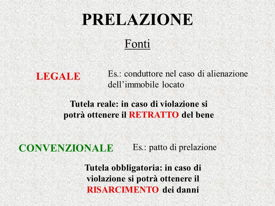 PRELAZIONE Fonti LEGALE CONVENZIONALE