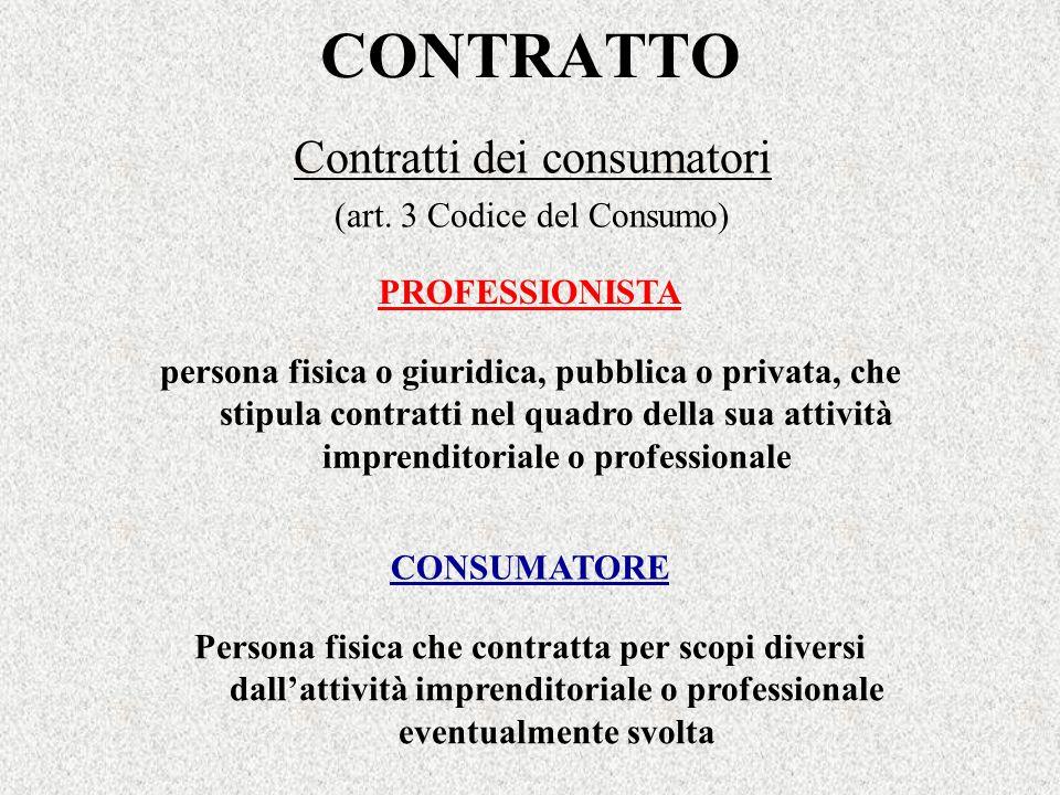 Contratti dei consumatori (art. 3 Codice del Consumo)