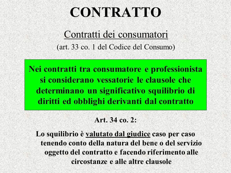 Contratti dei consumatori (art. 33 co. 1 del Codice del Consumo)