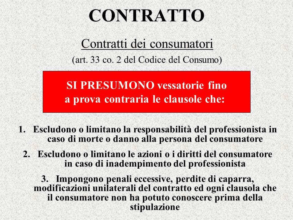 Contratti dei consumatori (art. 33 co. 2 del Codice del Consumo)