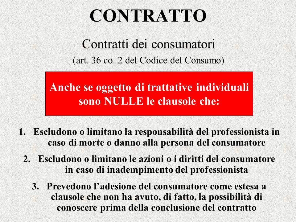 Contratti dei consumatori (art. 36 co. 2 del Codice del Consumo)