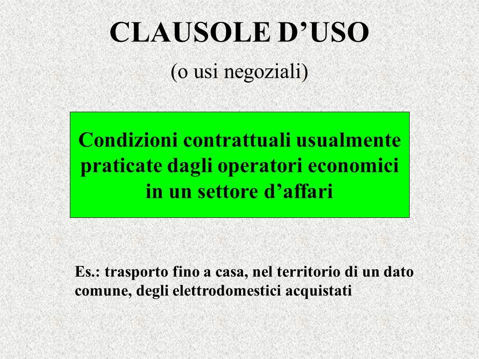 Condizioni contrattuali usualmente praticate dagli operatori economici
