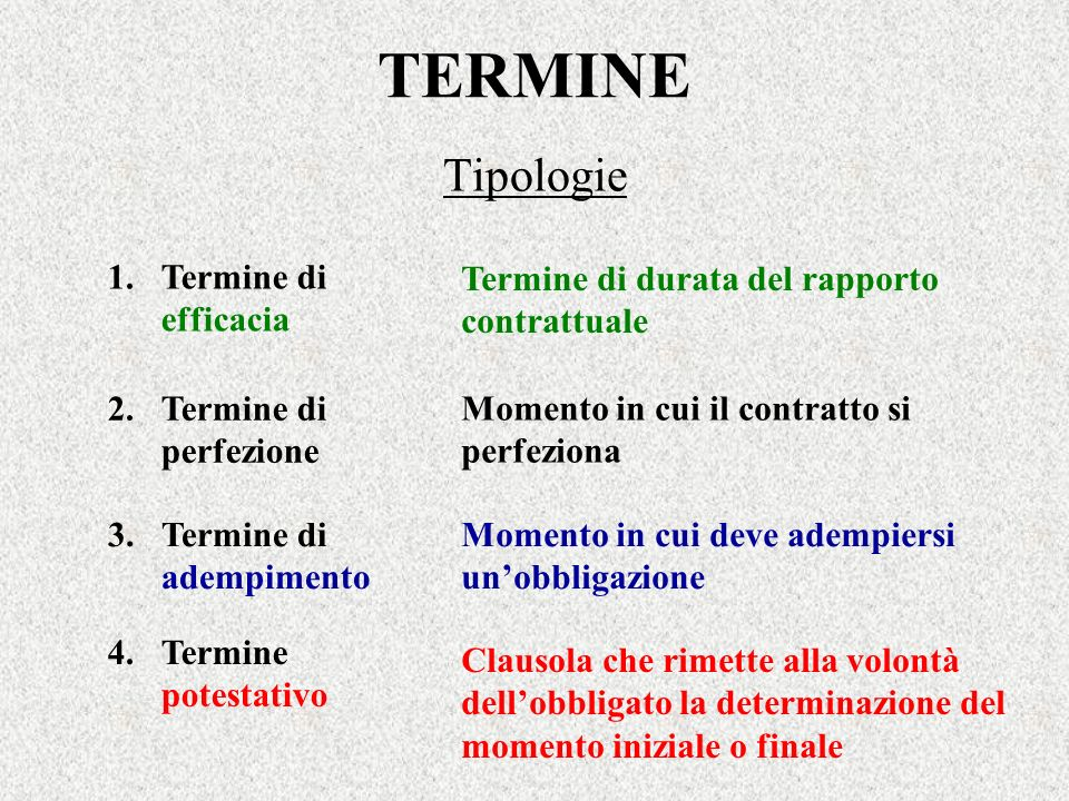 TERMINE Tipologie 1. Termine di efficacia