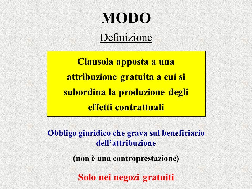 MODO Definizione Clausola apposta a una attribuzione gratuita a cui si