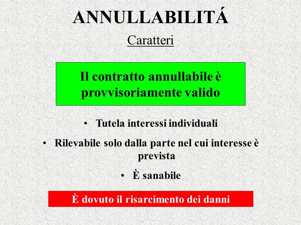 ANNULLABILITÁ Caratteri Il contratto annullabile è